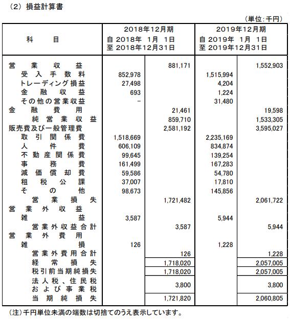 ウェルスナビ2019年損益計算書